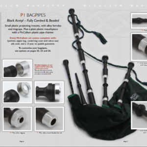 different views of the P1 McCallum Bagpipes, available in Australia