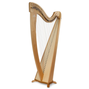 Side view of Camac Korrigan Harp with a Walnut Finish