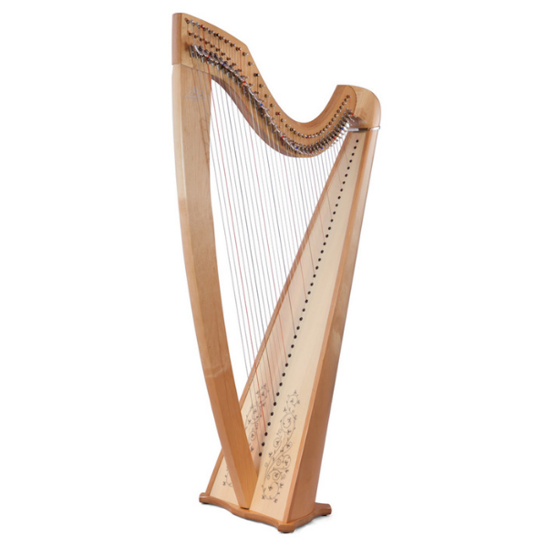 side view of camac isolde classical harp